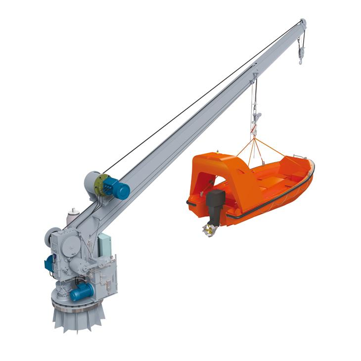 How to operate the life raft and rescue boat davit when the power is off?